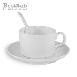 White cup with saucer and...