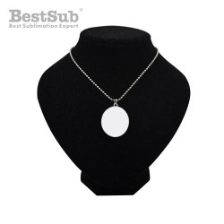 Oval necklace dog tag with...