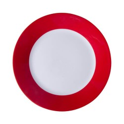 Plate with red edge lining...